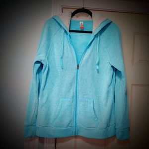 Aqua blue fleece zip up hoodie / jacket